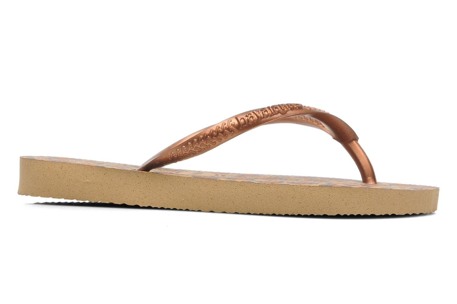 Flip flops Havaianas Kids Slim Animals Bronze and Gold view from the right