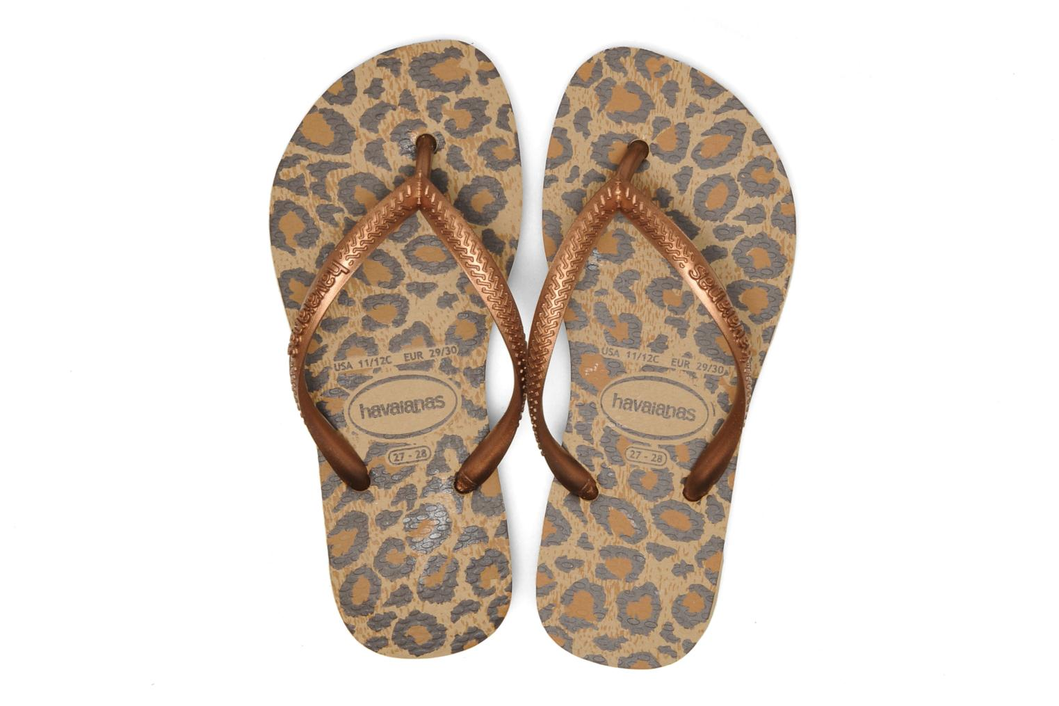 Flip flops Havaianas Kids Slim Animals Bronze and Gold view from above