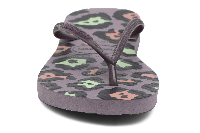 Tongs Havaianas Kids Slim Animals Violet vue portées chaussures