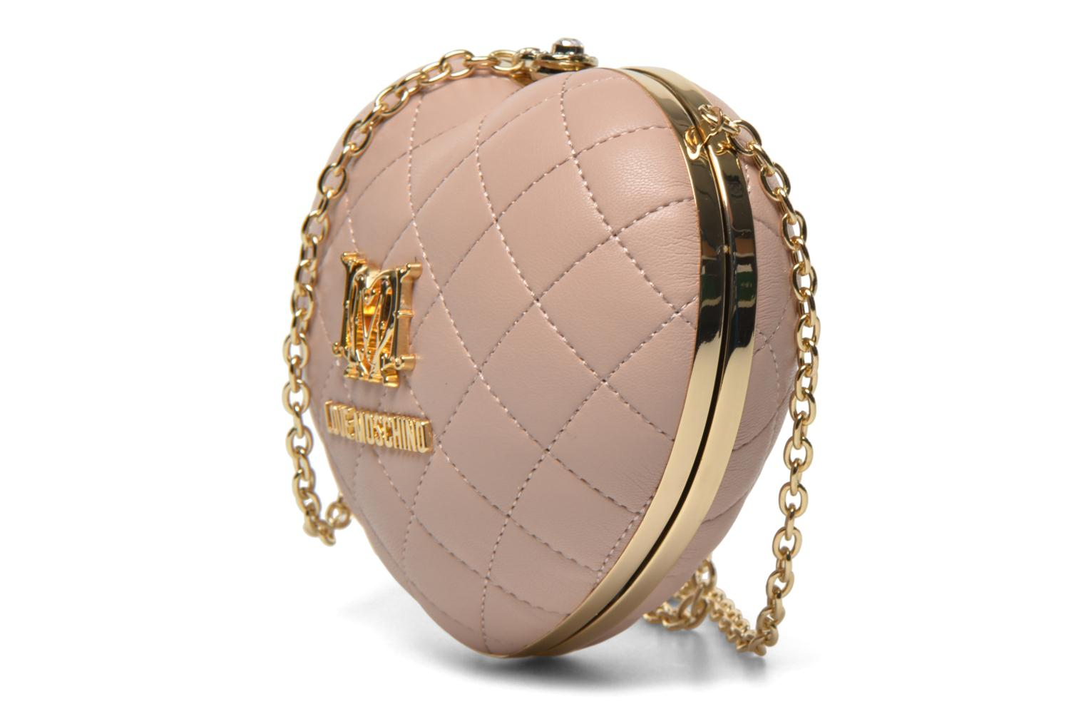 Sacs pochettes Love Moschino Quilted Heart Rose vue portées chaussures