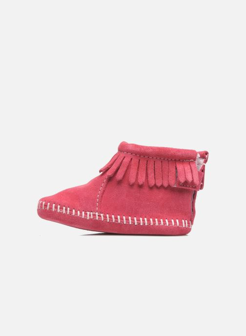 Slippers Minnetonka Back Flap Bootie Pink front view