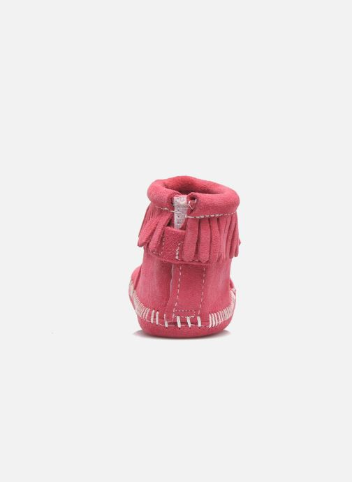 Slippers Minnetonka Back Flap Bootie Pink view from the right