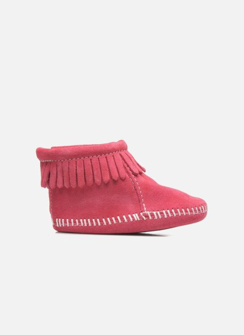 Slippers Minnetonka Back Flap Bootie Pink back view