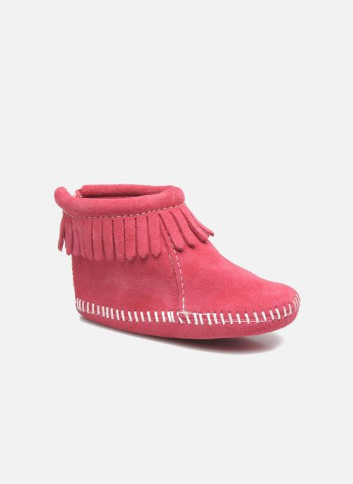 Slippers Minnetonka Back Flap Bootie Pink detailed view/ Pair view