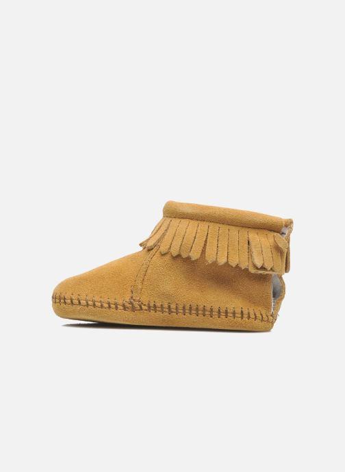 Pantoffels Minnetonka Back Flap Bootie Beige voorkant