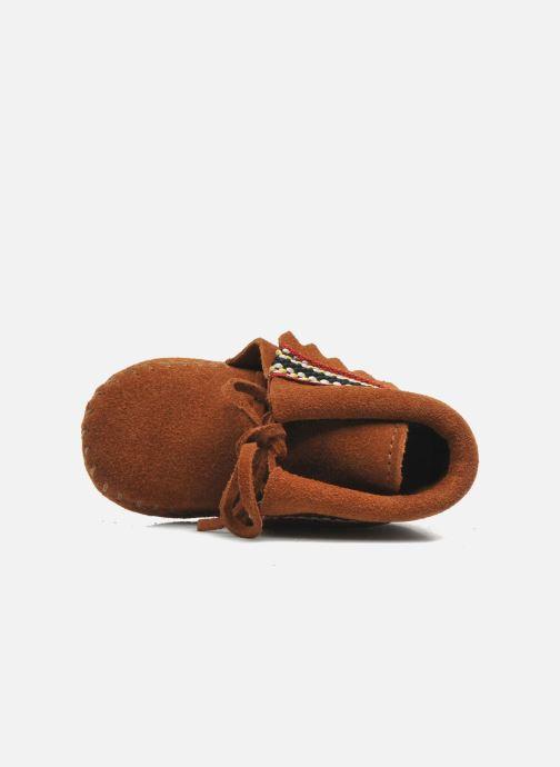 Pantofole Minnetonka Braid Bootie Marrone immagine sinistra