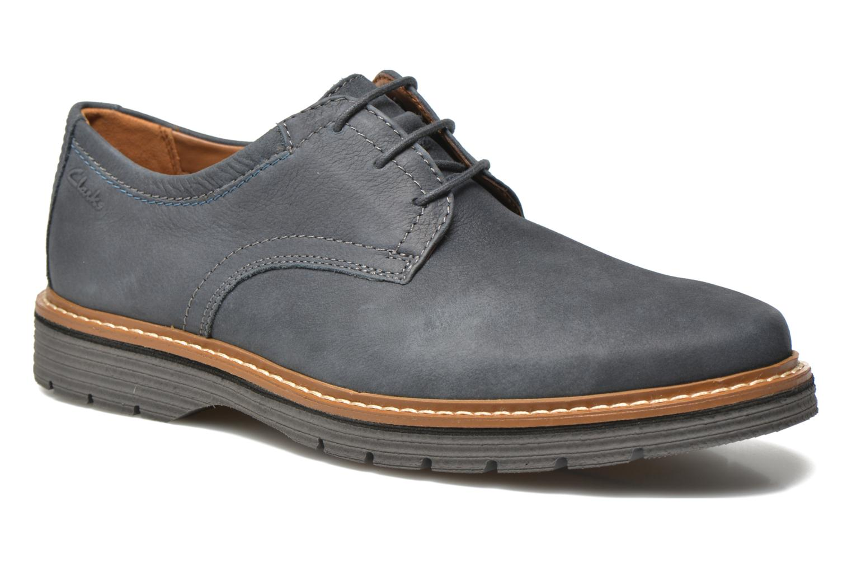 Chaussures à lacets Clarks Newkirk Plain Bleu vue détail/paire