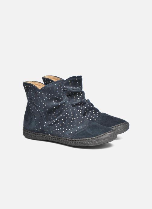 Bottines et boots Pom d Api New school pleats golden Bleu vue 3/4