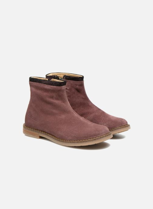 Ankle boots Pom d Api Trip boots stripes velours Burgundy 3/4 view