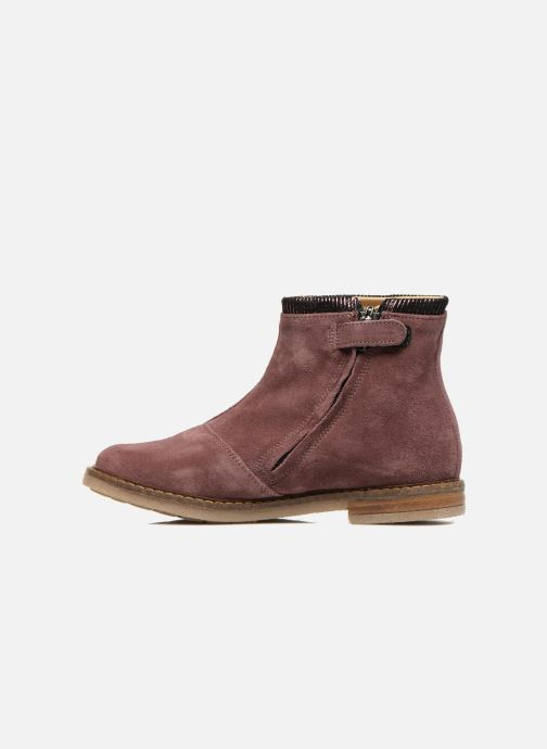 Ankle boots Pom d Api Trip boots stripes velours Burgundy front view