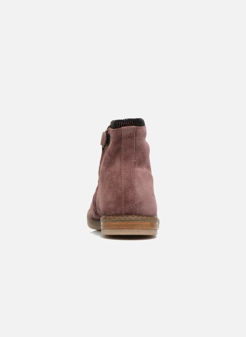 Ankle boots Pom d Api Trip boots stripes velours Burgundy view from the right