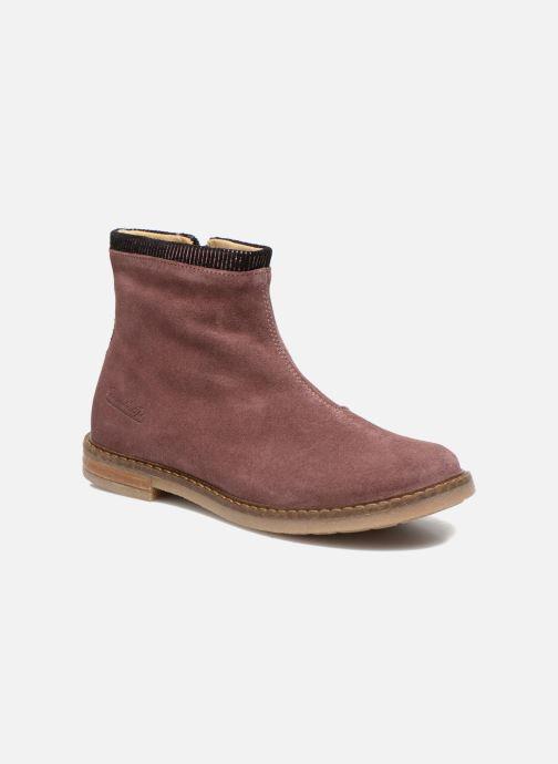 Bottines et boots Pom d Api Trip boots stripes velours Bordeaux vue détail/paire