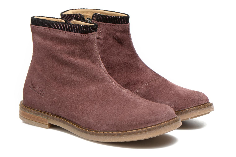 Bottines et boots Pom d Api Trip boots stripes velours Bordeaux vue 3/4