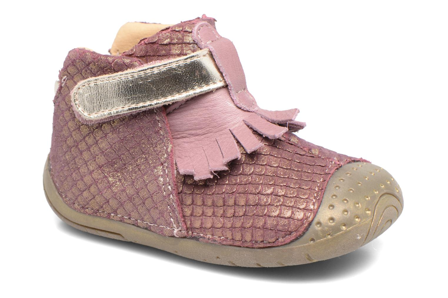Velcro shoes Babybotte Zazie Pink detailed view/ Pair view