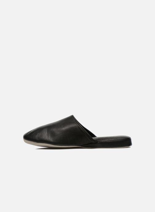 Pantuflas Isotoner Mule Cuir Negro vista de frente