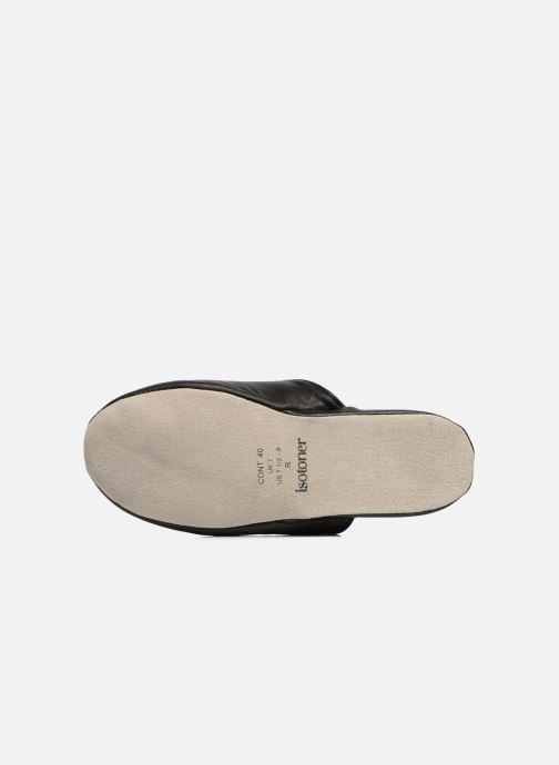 Slippers Isotoner Mule Cuir Black view from above