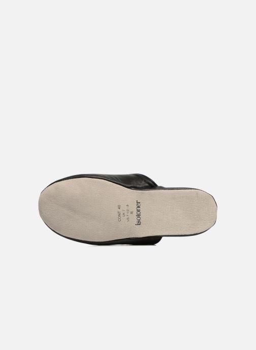 Pantofole Isotoner Mule Cuir Nero immagine dall'alto