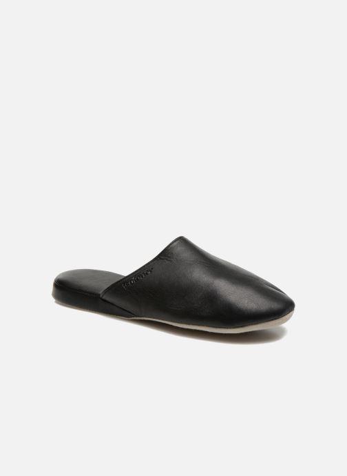 Chaussons Isotoner Mule Cuir Noir vue détail/paire