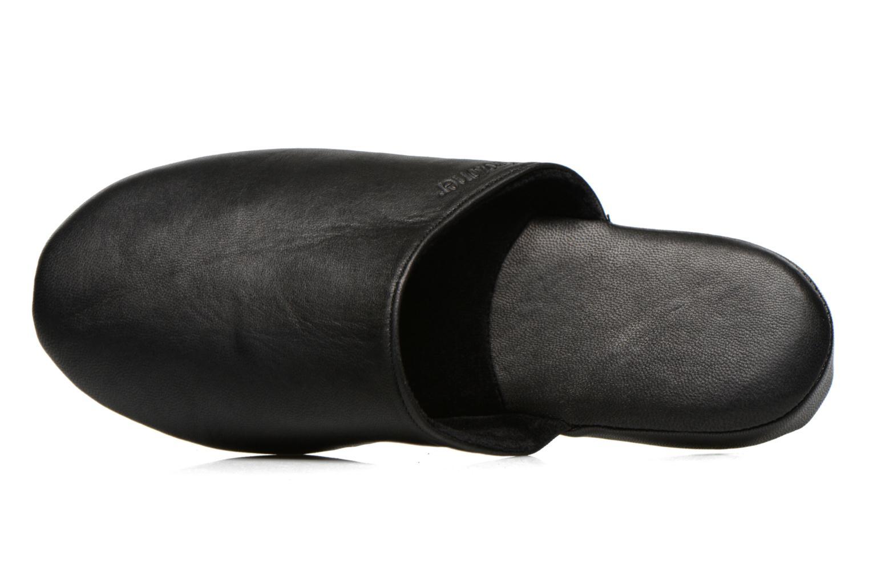 Chaussons Isotoner Mule Cuir Noir vue gauche