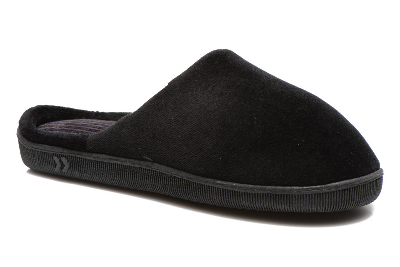Chaussons Isotoner Mule Ergonomique Velours X-TRA Confort Noir vue  détail paire 51202445d53b