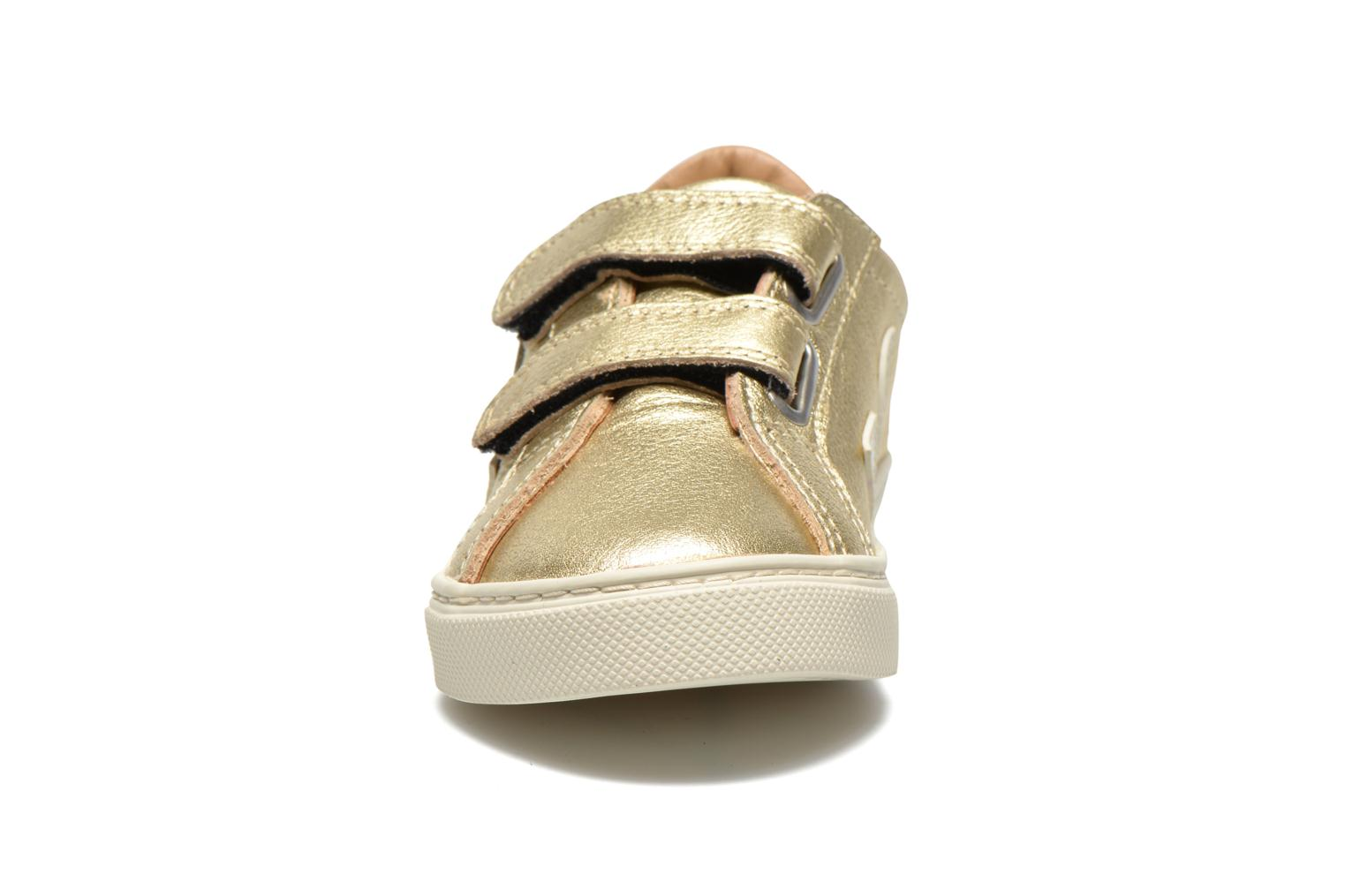Trainers Veja Esplar Small Velcro Leather Bronze and Gold model view