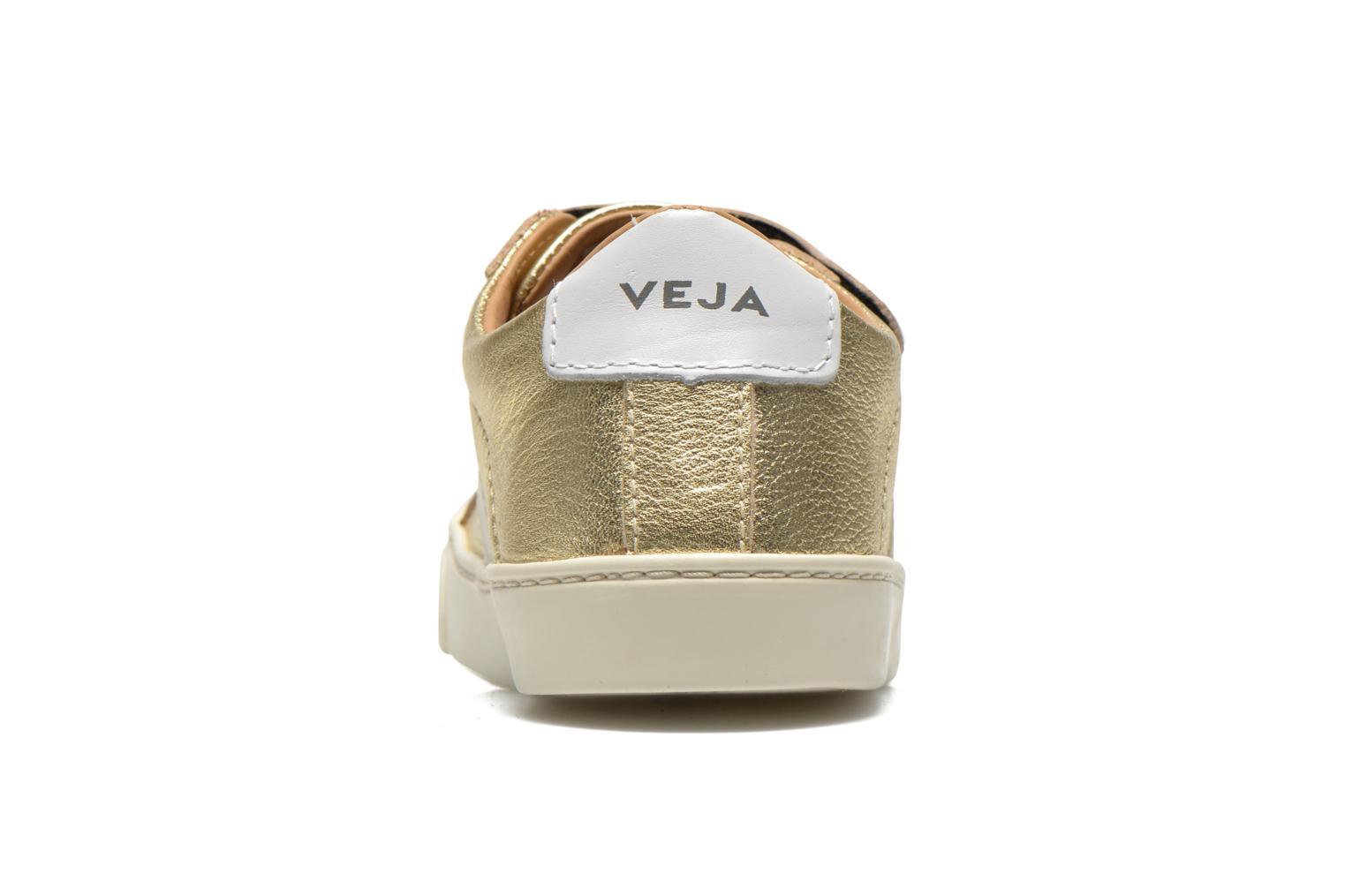 Sneakers Veja Esplar Small Velcro Leather Goud en brons rechts