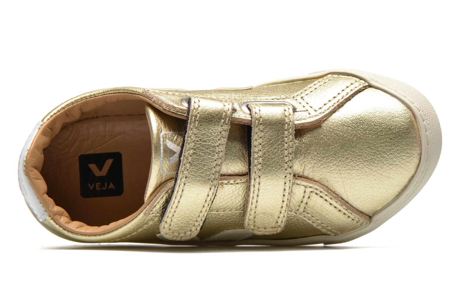 Sneakers Veja Esplar Small Velcro Leather Goud en brons links