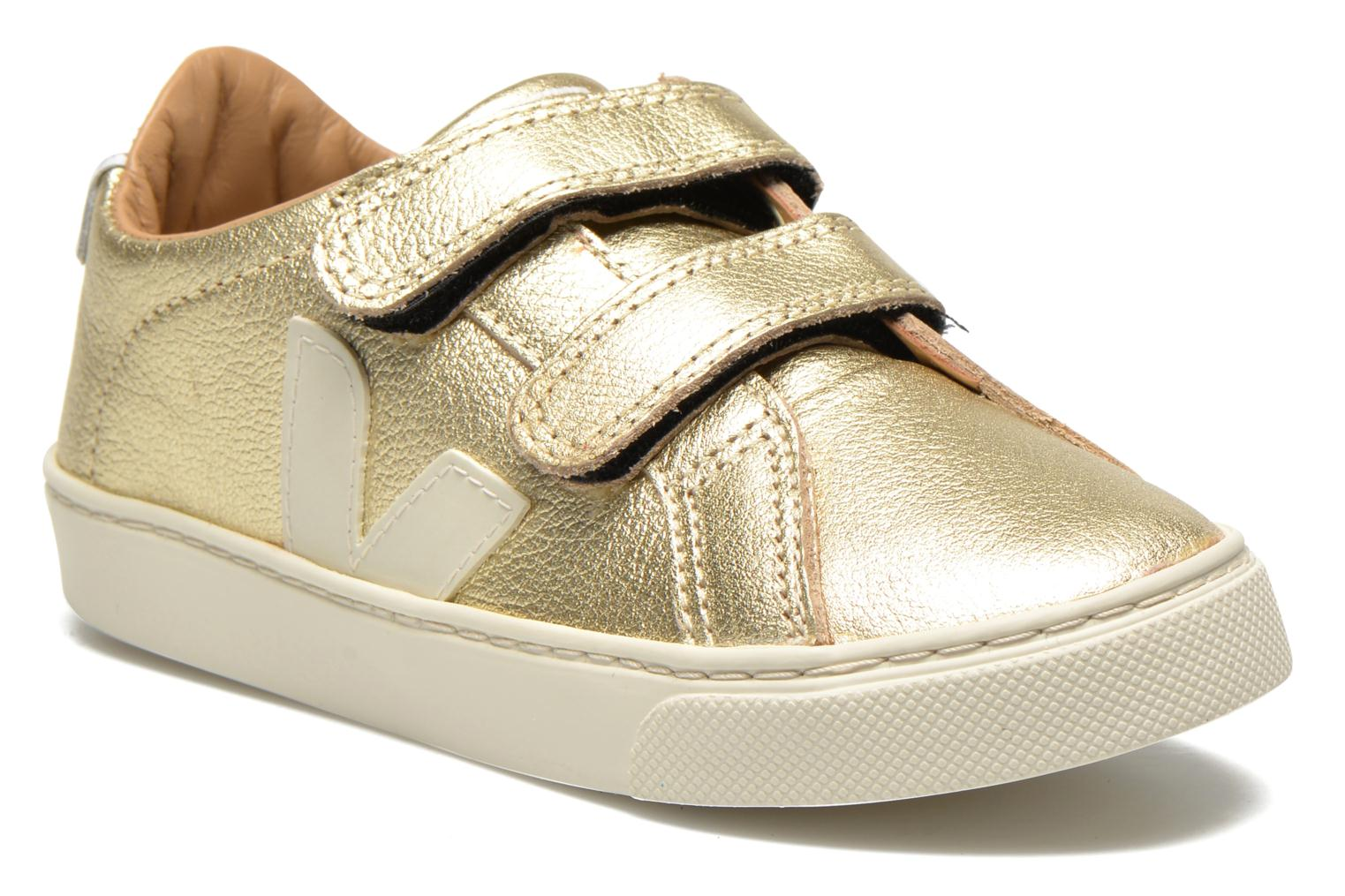 Sneakers Veja Esplar Small Velcro Leather Goud en brons detail