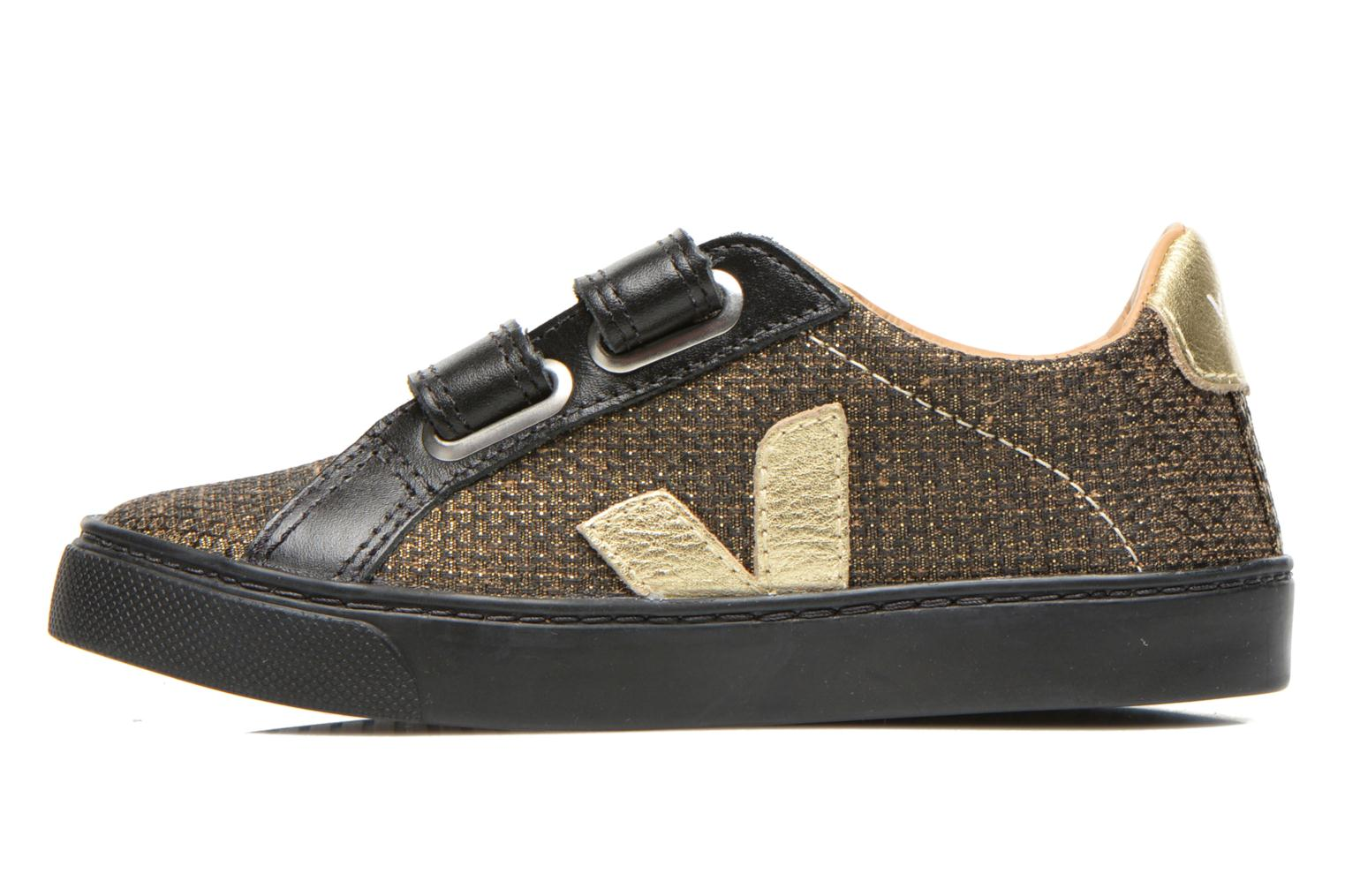 Trainers Veja Esplar Small Velcro Leather Bronze and Gold front view