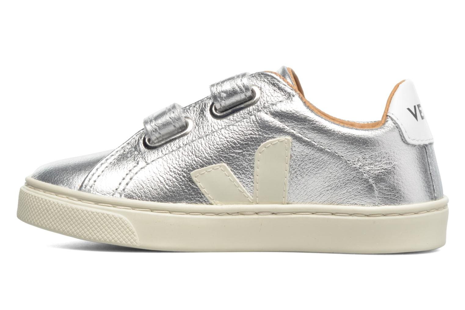 Trainers Veja Esplar Small Velcro Leather Silver front view