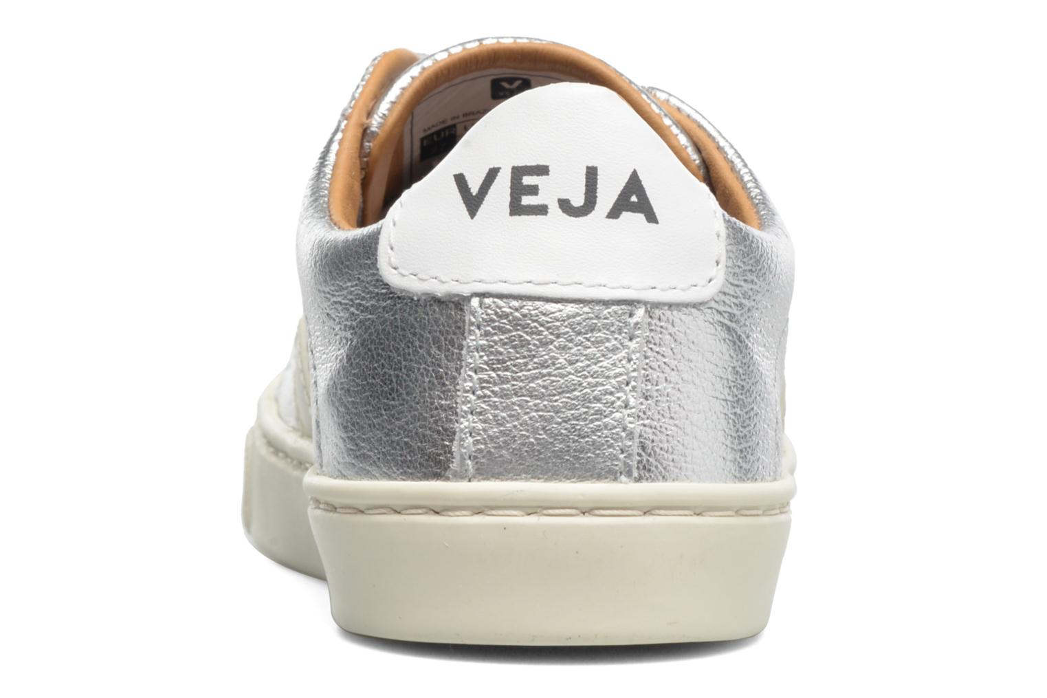 Deportivas Veja Esplar Small Velcro Leather Plateado vista lateral derecha