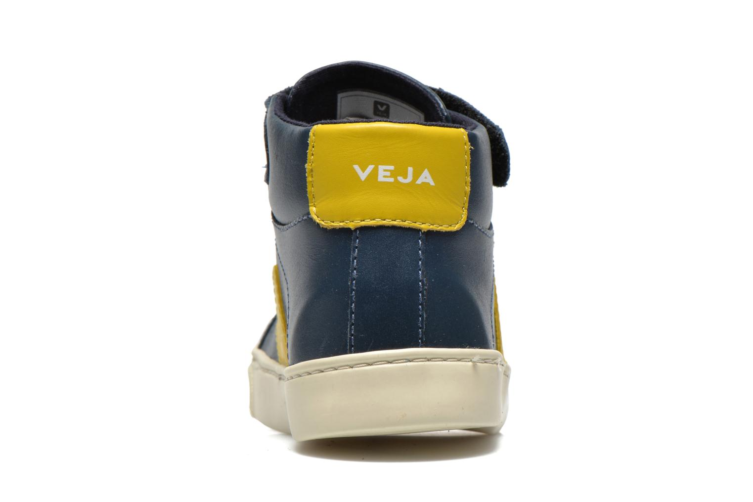 Baskets Veja ESPLAR MID SMALL VELCRO LEATHER Bleu vue droite