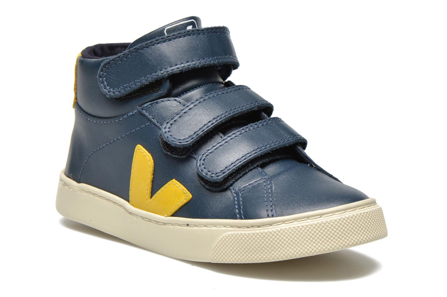 Baskets Veja ESPLAR MID SMALL VELCRO LEATHER Bleu vue détail/paire