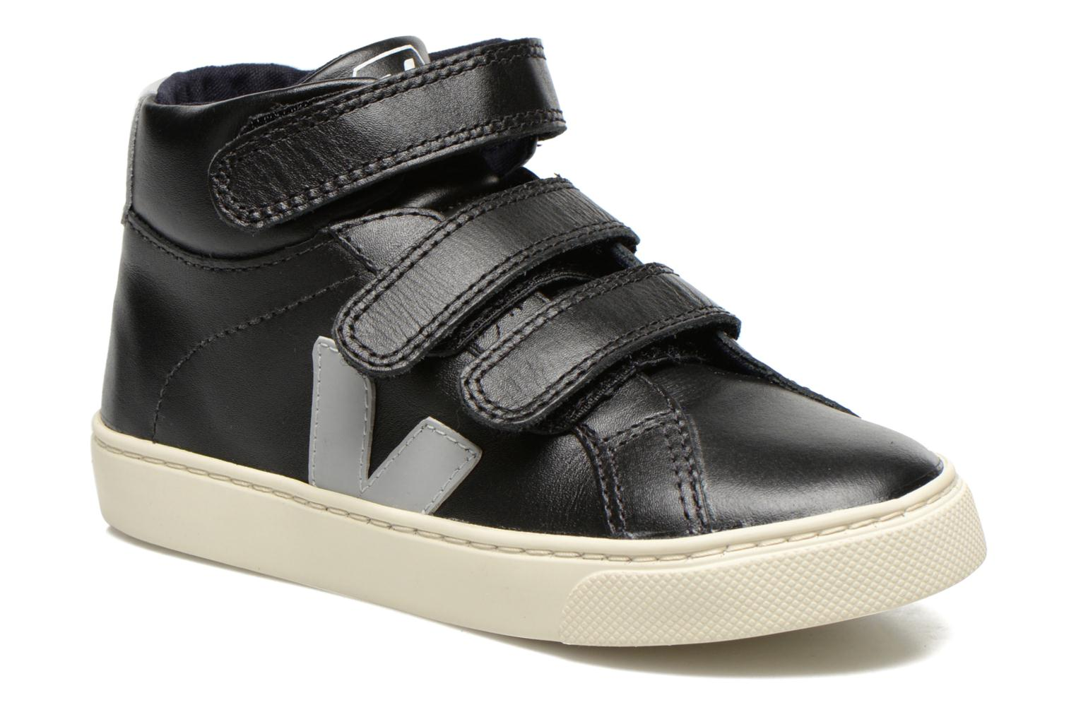 Baskets Veja ESPLAR MID SMALL VELCRO LEATHER Noir vue détail/paire