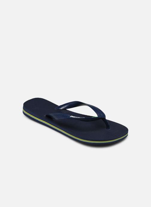Tongs Havaianas Brasil Logo HH Bleu vue portées chaussures