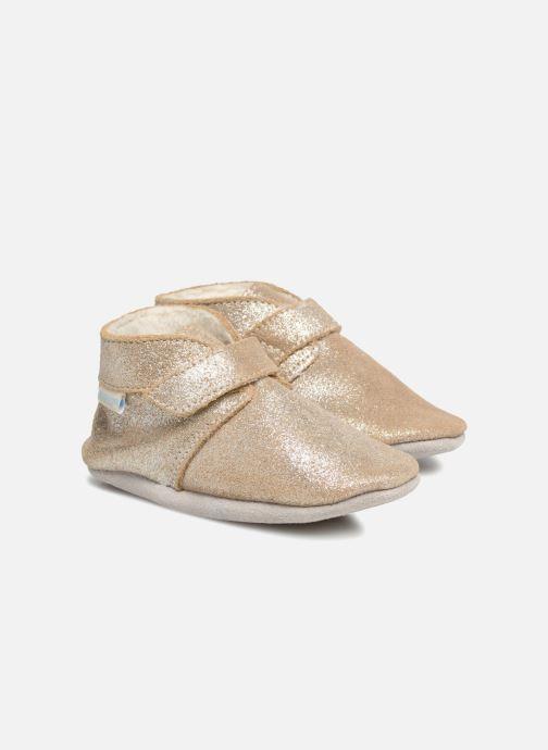 Hjemmesko Robeez Pole Nord Guld og bronze detaljeret billede af skoene