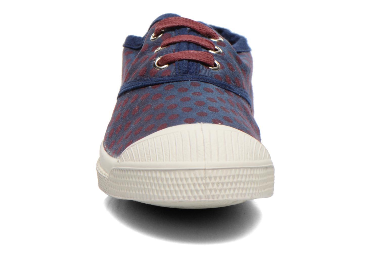 Baskets Bensimon Tennis Pois Jacquard E Bleu vue portées chaussures