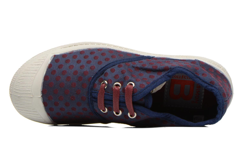 Baskets Bensimon Tennis Pois Jacquard E Bleu vue gauche