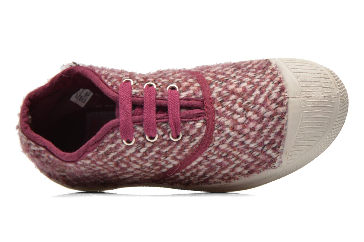 Baskets Bensimon Tennis Girly Tweed E Rose vue gauche