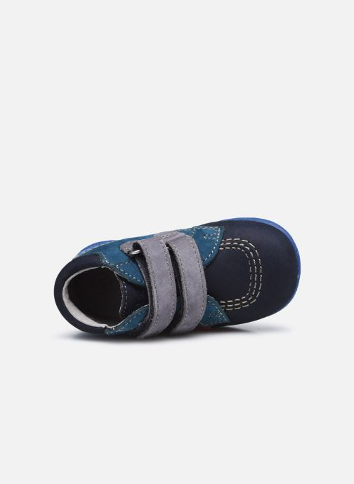 Zapatos con velcro Kickers Babyscratch Azul vista lateral izquierda