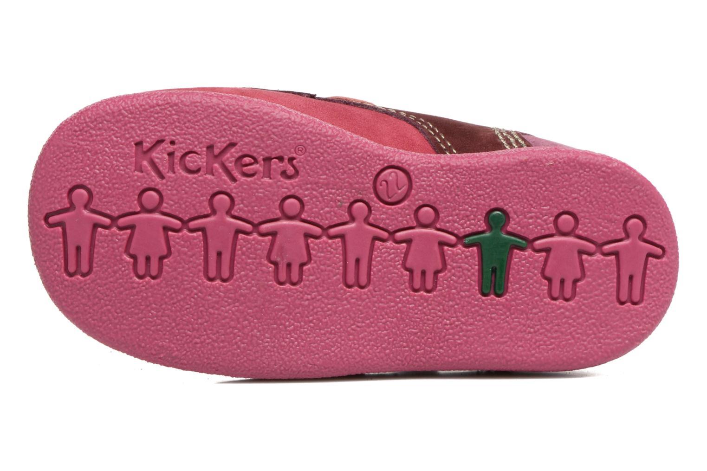 Chaussures à scratch Kickers Babyscratch Rose vue haut