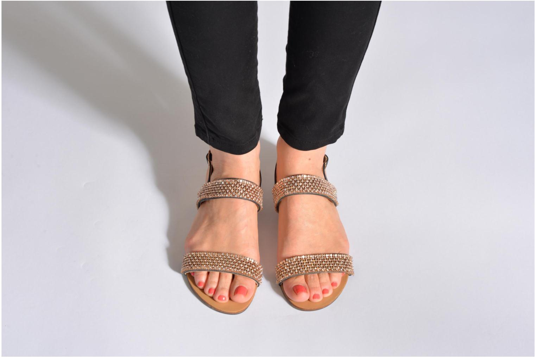 Sandales et nu-pieds Divine Factory Venupa Noir vue bas / vue portée sac