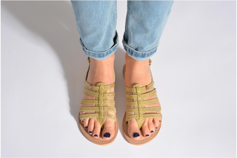 Sandales et nu-pieds Initiale Paris Menthe Or et bronze vue bas / vue portée sac