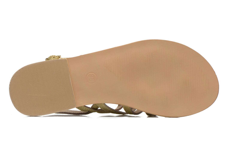 Sandales et nu-pieds Initiale Paris Menthe Or et bronze vue haut