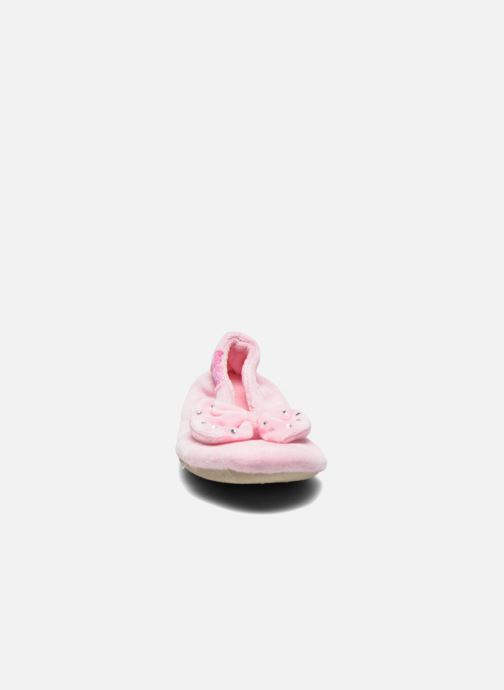 Chaussons Isotoner Ballerine Velours Grand Nœud Strass Kids Rose vue portées chaussures