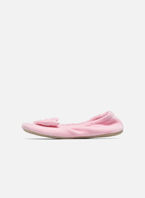 Slippers Isotoner Ballerine Velours Grand Nœud Strass Kids Pink front view