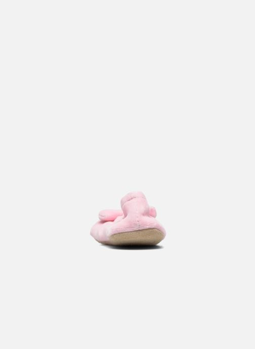 Slippers Isotoner Ballerine Velours Grand Nœud Strass Kids Pink view from the right