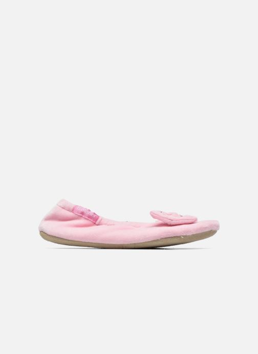 Slippers Isotoner Ballerine Velours Grand Nœud Strass Kids Pink back view