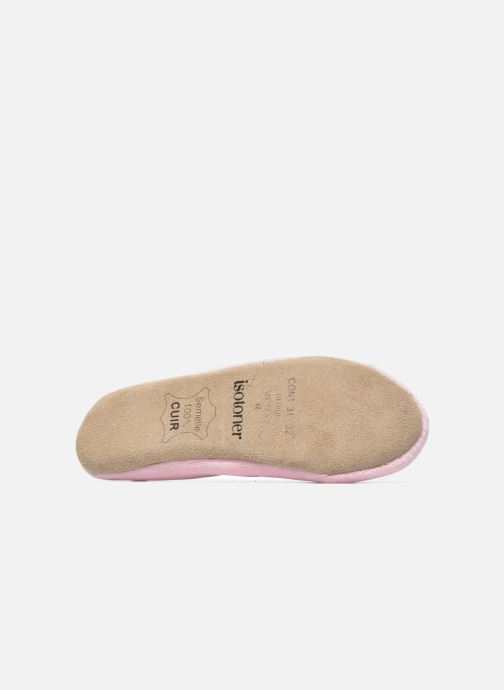 Slippers Isotoner Ballerine Velours Grand Nœud Strass Kids Pink view from above
