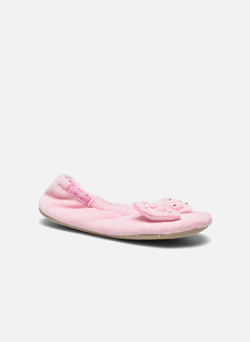 Slippers Isotoner Ballerine Velours Grand Nœud Strass Kids Pink detailed view/ Pair view